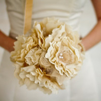 Fabric Flower Bouquet Weddings Vintage by AutumnandGraceBridal