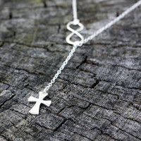 Infinity Cross Lariat Necklace - Sterling Silver Cross Infinity Necklace . Faith Forever . Sideways Infinity Lariat . Celtic, Roman Cross