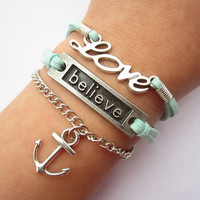 believe LOVE bracelet---love letters bracelet---antique silver anchor&green wax rope chain