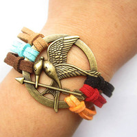 Mockingjay inspired Bracelet---antique bronze The hunger game style pendant &amp; colorful rope chain