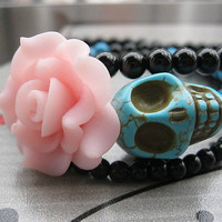 Day of the Dead Bracelet--3D blue rammel skull and blue resin flower bracelet