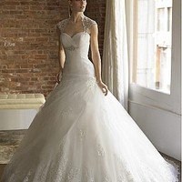 [181.56] Gorgeous Organza & Satin &  Tulle With Beaded Lace Appliques Ball Gown Sweetheart Neckline Wedding Dress - Dressilyme.com