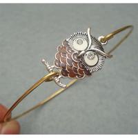 Elegant Owl Bangle Bracelet by turquoisecity on Etsy