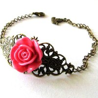 Fuchsia Pink Resin Flower Bracelet Jewelry With Bronzed Filigree And Bird Charm | Luulla