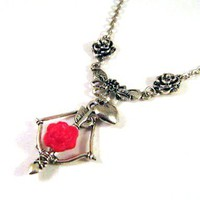 Silver Tone Roses, Bow And Arrow Necklace Jewelry With Red Resin Flower And Heart Charm | Luulla