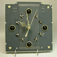 Starry Night Recycled Black CIRCUIT BOARD Elegant Techcraft Desk Clock | ThreeRingCircuits - Housewares on ArtFire