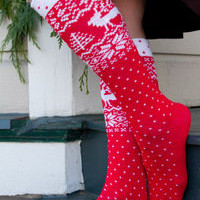 Socks By Sock Dreams  » Socks » Dreamy Deer & Snow Knee Highs