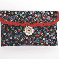 Clutch Black  Floral cosmetic bag red lace bridal bag wedding