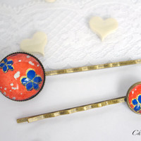 Bobby pin hair pin romantic red flower blue