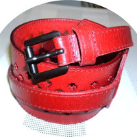 SALE womans obi leather belt handmade cherry red