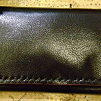 SALE Handmade black leather woman's tri fold purse