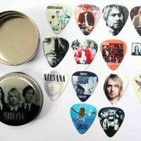 Tin of 14 Nirvana Full Colour Guitar Picks - Two Sided