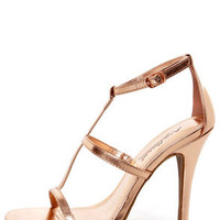 Anne Michelle Enzo 17 Rose Gold Metallic T-Strap Heels