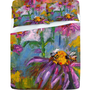 Ginette Fine Art Purple Coneflowers And Bees Sheet Set