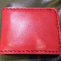SALE pink leather man's wallet  handmade
