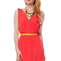 Epaulette Wrap Dress in Tomato :: tobi