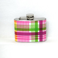 4oz Stainless Steel Hip Flask with pink plaid wrap