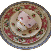 One Kings Lane - The Floral Table - Rose China Place Setting, 4 Pcs