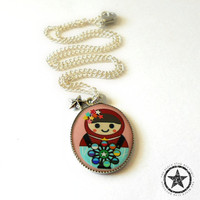 Matryoshka Doll Charm Necklace with Stars - Childrens Nesting Doll Necklace - Gift Ideas