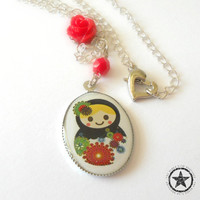 Matryoshka Doll Charm Necklace in Silver - Nesting Doll Childrens Necklace