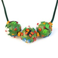 Green Cinco de Mayo Necklace Fiesta Ladybug Dragonfly Butterfly