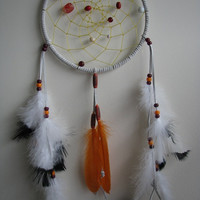 Native Dreamcatcher, Dream catcher, authentic, white suede, orange and black, home decor, wall hanging