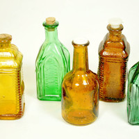 Five Assorted Miniature Glass Bitters Bottles by LilytheDogVintage