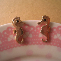 Seahorse Earrings by Bitsofbling on Etsy