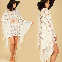 Romantic HANDMADE ViNtAgE Crochet ANGEL Wing Floral Sheer MiNi Dress s/m/l