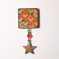 Chevron Lapel Pin Decoupaged Square Brooch Swarovski by rrizzart