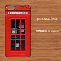 London Telephone Booth iPhone 5 Case,Vintage British Telephone box iPhone 5 Hard Case,Red Old Antique phone cover skin case iphone 5 case