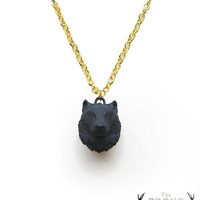 Black Wolf Necklace Pendant animal jewelry by TheRogueAndTheWolf