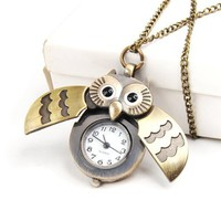 Cute Antique Owl Pocket Watch Pendant Necklace: Jewelry: Amazon.com