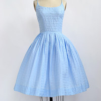 vintage 1950s blue cotton sundress [Blue Skies Yonder Dress] - $148.00 : ADORED | VINTAGE, Vintage Clothing Online Store