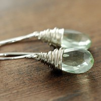 Green Amethyst Earrings Sterling Silver February by aubepine