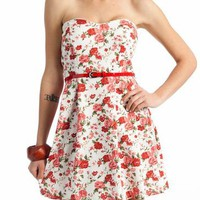 belted floral tube dress $21.90 in BLUEMULTI REDMULTI - Casual | GoJane.com