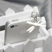 White Leather Bow Charm Dust Plug / Earphone Jack Accessory / Ear Cap / Ear Jack for Iphone / Ipad / Ipod Touch / All Device with 3.5mm Jack: Electronics