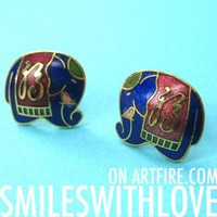 SALE - Small Elephant Tribal Stud Earrings in Blue on Gold