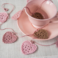 Sweetheart Crochet Wedding Garland - Pink and Brown