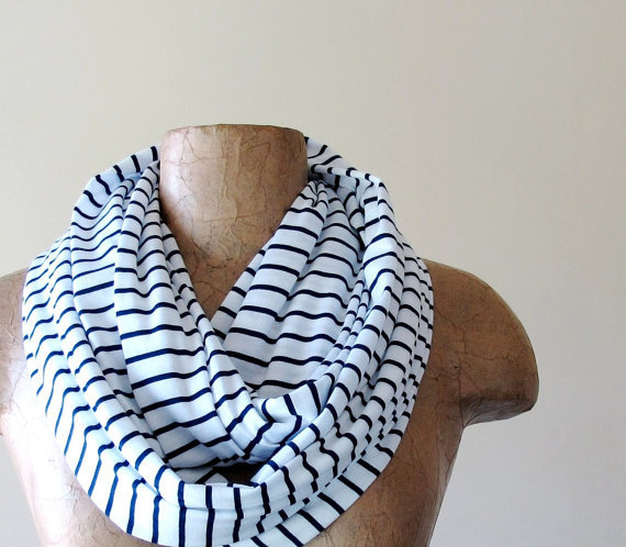 INFINITY striped scarf in white and navy blue nautical by EcoShag