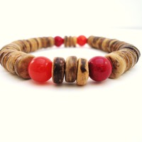 coconut wood bracelet gemstone beaded stretch bracelet by BeaKez