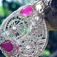 Wire Wrapped Raw Ruby Pendant Necklace, Druzy Diamond, Sterling Silver