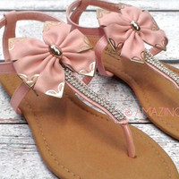 Blushing Barbi Big Bow Ankle Sandals