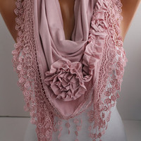 New- Soft Pink  Jersey Rose Shawl/ Scarf - Headband -Cowl with Lace trim- DIDUCI