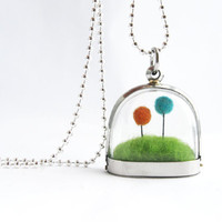 Terrarium Lorax Locket, Pom Pom Teal and Orange Truffula Tree on Green Grass Hill Needle Felted, Silver Finish Fun Gift Idea