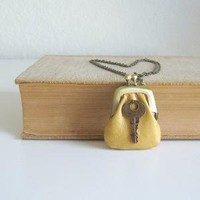 petite purse necklace  yellow mustard  free shipping by sewlola