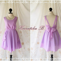 A Party Dress V Shape Style - Cocktail Wedding Bridesmaid Dinner Party Night Dress Bright Lilac Color Deep back Style Gorgeous Dress