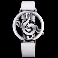 Musical Note Dial Quartz Movement Watch with Leather Band: Sports & Outdoors