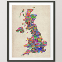 Great Britain UK City Text Map, Art Print 18x24 inch (229)