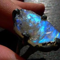 LUA XXXlarge raw rainbow moonstone druzy Ring by by BeijoFlor
